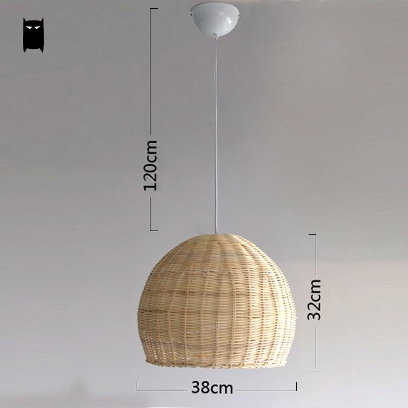 save off b6ef8 51433 US $118.0 |Hand woven Wicker Rattan Round Basket Shade Pendant Light  Fixture Cord Asian Japanese Hanging Lamp for Home Dining Table Room-in  Pendant ...