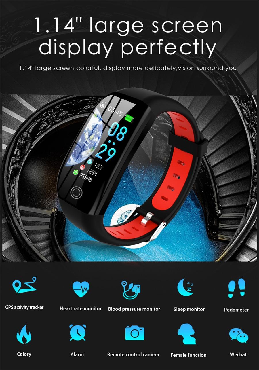 HTB13C43eRWD3KVjSZKPq6yp7FXaG F21 Smart Bracelet GPS Distance Fitness Activity Tracker IP68 Waterproof Blood Pressure Watch Sleep Monitor Smart Band Wristband