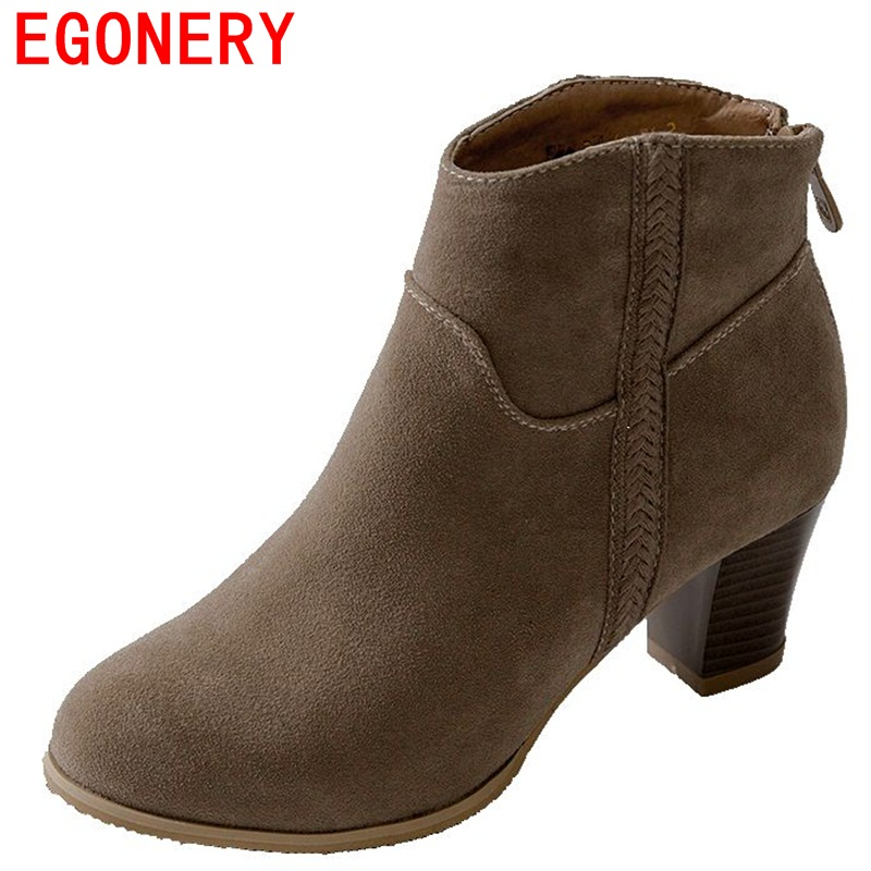 EGONERY shoes 2018 winter pleated office women fashion square thick heels boots round toe concise after the zipper ankle boots egonery ankle boots 2017 height increasing star metal decoration women side zipper round toe fashion breathable winter shoes