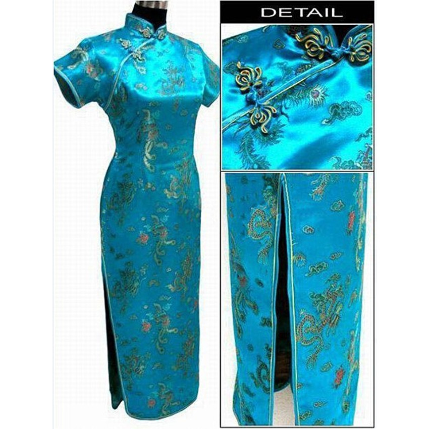 Lake Blue Chinese Traditional Dress Women Satin Qipao Dragon Phenix Long Cheongsam Plus Size S M L Xl
