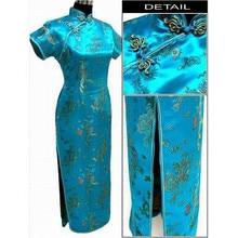 Lake blue Chinese Traditional Dress Women Satin Qipao Dragon Phenix Long Cheongsam Plus Size S M L XL XXL XXXL 4XL 5XL 6XL LF-06