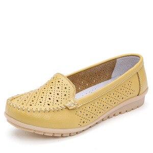 Image 4 - Dobeyping yeni stil ayakkabı kadın yumuşak hakiki deri kadın Flats ayakkabı üzerinde kayma kadın mokasen rahat anne ayakkabı artı boyutu 35 42
