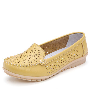 Image 4 - Dobeyping סגנון חדש נעלי אישה רך אמיתי עור נשים דירות נעליים להחליק על נשים של מזדמנים אמא נעל בתוספת גודל 35 42