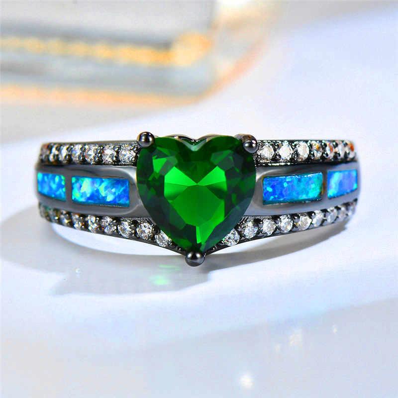 Boho หญิงสีเขียวหัวใจสีแดงแหวนแฟชั่น Blue Fire Opal แหวน Vintage แฟชั่นสีดำสายรุ้งที่มีสีสัน