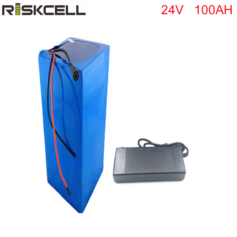 Free customs taxes rechargeable lithium battery 24v 100ah lithium ion battery 24v  100ah 1000w li-ion battery pack +charger+BMS free shipping 50a discharge rate lithium battery 48v 50ah 18650 rechargeable li ion battery pack with 2000w bms and charger