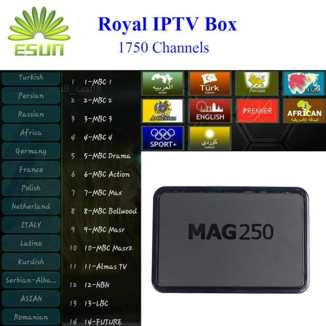 MAG 250 Arabic IPTV French IPTV Set Top Box sky Italy UK DE for Spain  Portugal Turkish Netherlands set top box android tv box-in Set-top Boxes  from