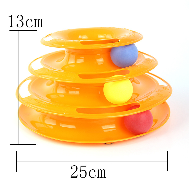 Blue Orange Three Levels Tower Tracks Disc Cat Toy Amusement Shelf Play Station For Cat