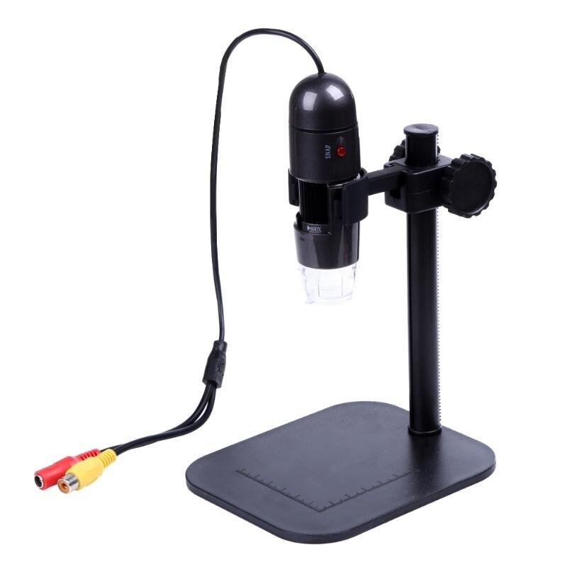 Alta calidad 25X-400X foto captura 8 LED 40000 mLux AV Digital microscopio endoscopio lupa cámara de TV fuera