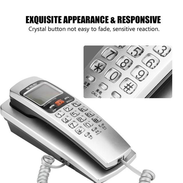 FSK/DTMF Caller ID Telefone Com Fio de Telefone Botão Grande Secretária Colocar Telefone Fixo Moda Telefone de Extensão para Casa Azul Vermelho prata Azul