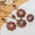 Supper Turkish Royal Design Evening Jewelry Sets Collares Resin Red Necklace Earring Ring Sets Fine Flower Vintage Necklace sets