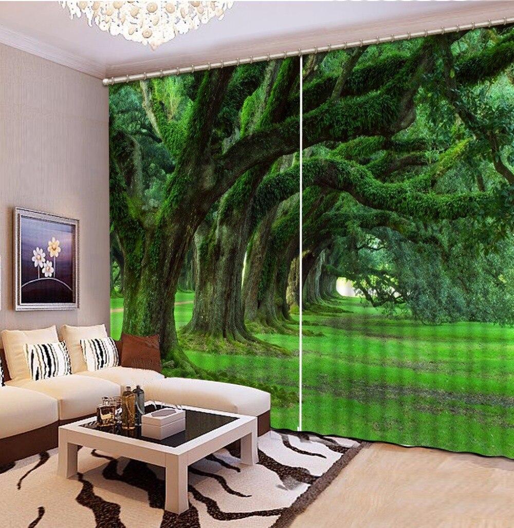 3D Rideau Photo personnaliser taille vert arbre rideaux pour chambre rideaux pour salon 3D rideaux fenêtre Rideau
