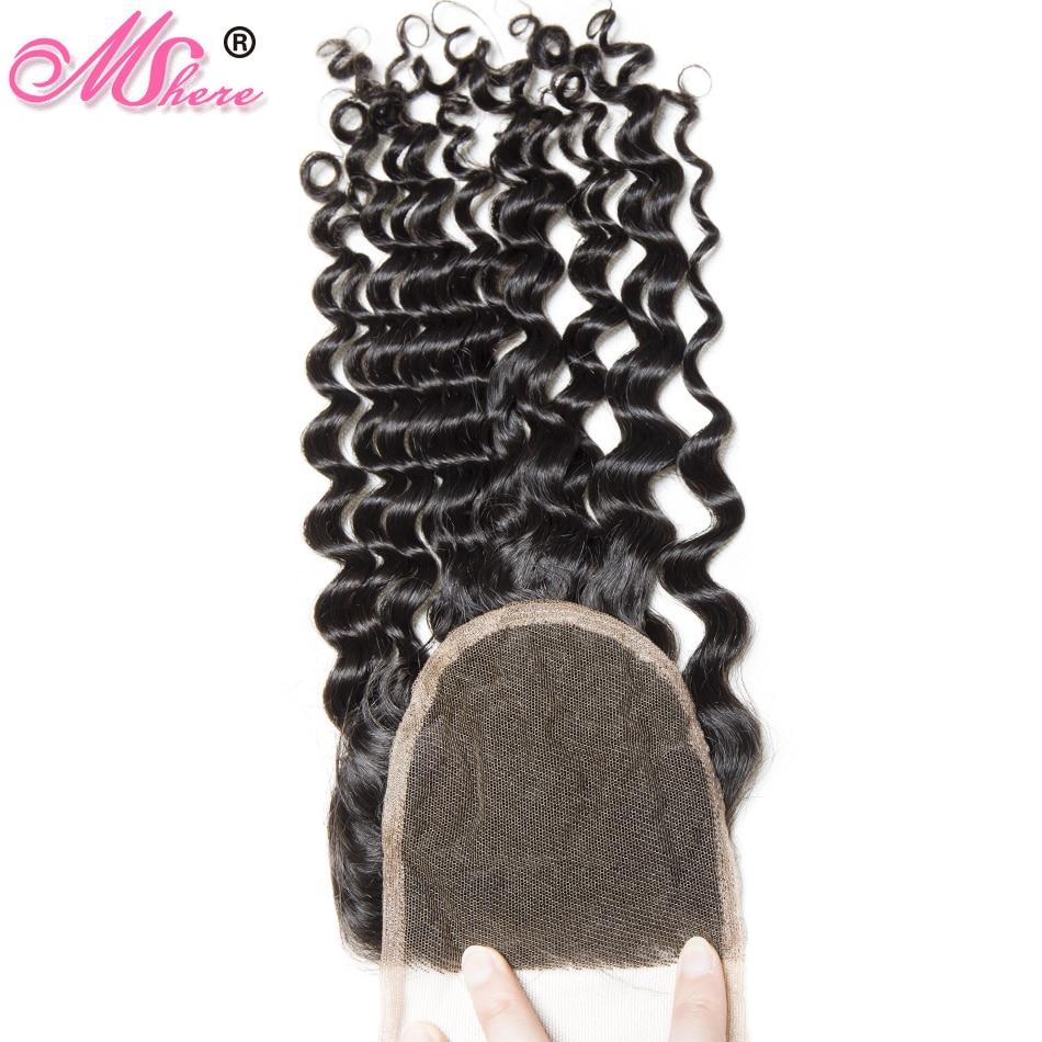 HTB13C4ljRDH8KJjSszcq6zDTFXaU Mshere 4PCS/LOT Peruvian Deep Curly Wave 3 Bundles With Closure Non Remy Hair Free Part Lace Closure With Human Hair Bundles 1B#