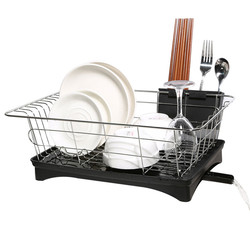 Stainless Steel Kitchen Dish Rack Plates Bowl Cup Drying Storage Organizer Holder Tray Tableware Shelf Black White Single Layer