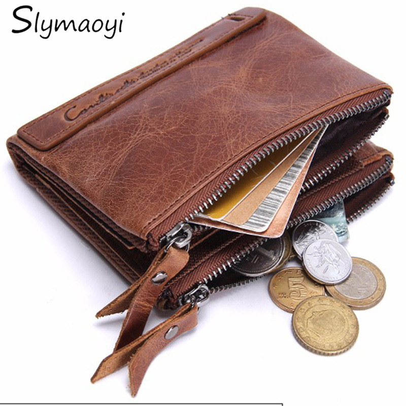homem carteira de couro genuíno Comprimento do Item : 9.5cm