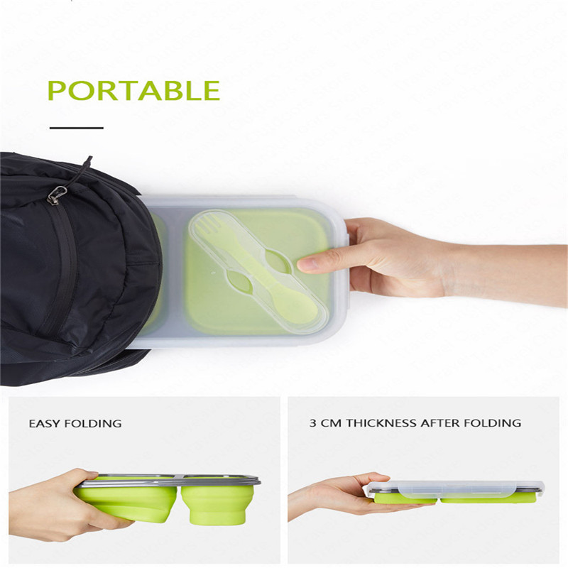 Image 4 - 1 3 Grid Folding Silicone Lunch Dinner Box Bento Travel Bowl Picnic Food Container Lunchbox for Outdoor Tableware 600 1300ML-in Outdoor Tablewares from Sports & Entertainment