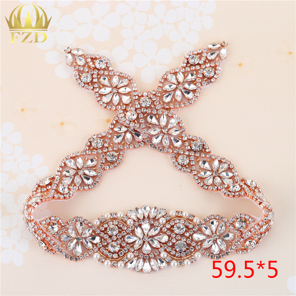 US Shipping Wedding Accessories Rhinestone Appliques Decoration Clear Crystal Applique Sew Iron On Belt Dress Christmas Gift