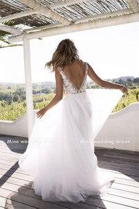 Image 3 - Clássico a line estilo applique floresce v decote sheer corpete vestido de noiva perfeito para dança praia vestido de noiva