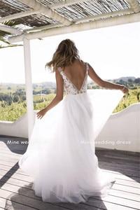 Image 3 - Classic A Line Style Applique Flourishes V Neckline Sheer Bodice Bridal Dress Perfect For Dancing Beach Bridal Dress