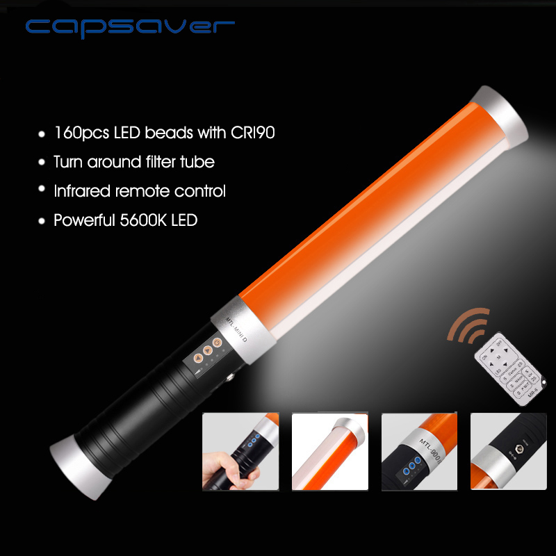 купить capsaver MTL-MINID LED Video Light Handheld Photography Lighting Magic Tube 160 LEDs 3200K-5600K CRI90 NP-F550 Remote Control
