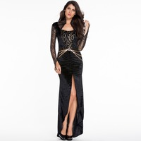 LC895I Wholesale And Retail Party Dress Elegant Design Sexy Club Wear Lace Hollow Out Fashion Trendy