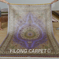Yilong 5.5'x8' Hand knotted turkish carpet purple handmade silk persian rugs for sale (1117)
