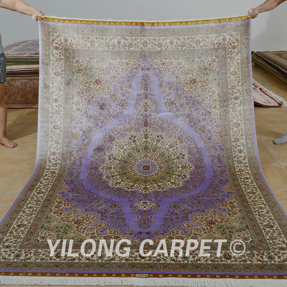 Yilong 5.5u0027x8u0027 Hand Knotted Turkish Carpet Purple Handmade Silk Persian Rugs  For Sale