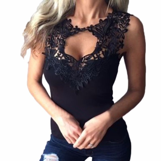 Sexy Women T-shirts Solid Lace Perspective Sleeveless Slim Fit Tee Tops Vest Camisole LJ9126R