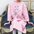2017 Spring Women cartton smile Pink Sleepwear girl Pajamas over size Ladies Long Sleeve Cotton Cute Nightgown female sleepshirt