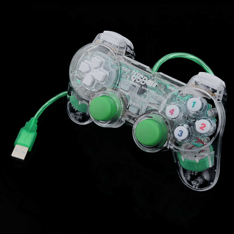 3 Warna Transparan LED Kabel USB Gamepad Double Getaran Joystick Game Controller Joypad untuk PC Laptop untuk Win7/10 /XP Jelas
