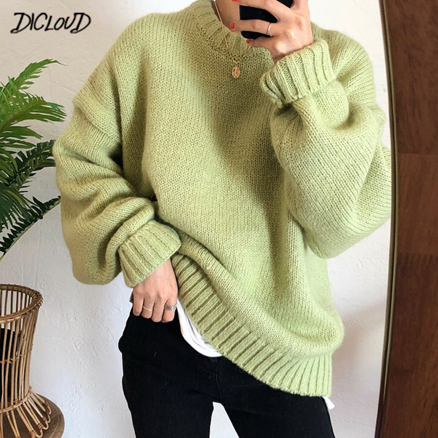 DICLOUD Harajuku Sweater Pullovers Women Fashion Loose Warm Thick Sweater Ladies 2019 Bat Sleeve Casual Knit Tops 10 Colors + knitting