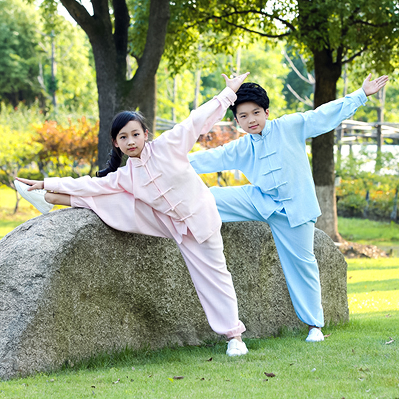 Home Spirited Children Wear Long Sleeved Clothes Martial Arts Child Mianma Wushu Taiji Clothing Autumn Wind A Martial Art Kungfu Clothes Jade White