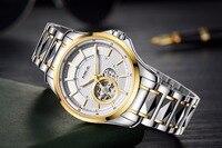 Mige 2018 новые роскошные брендовые механические мужские часы с скелетом из вольфрамовой стали золотые автоматические водонепроницаемые мужс...