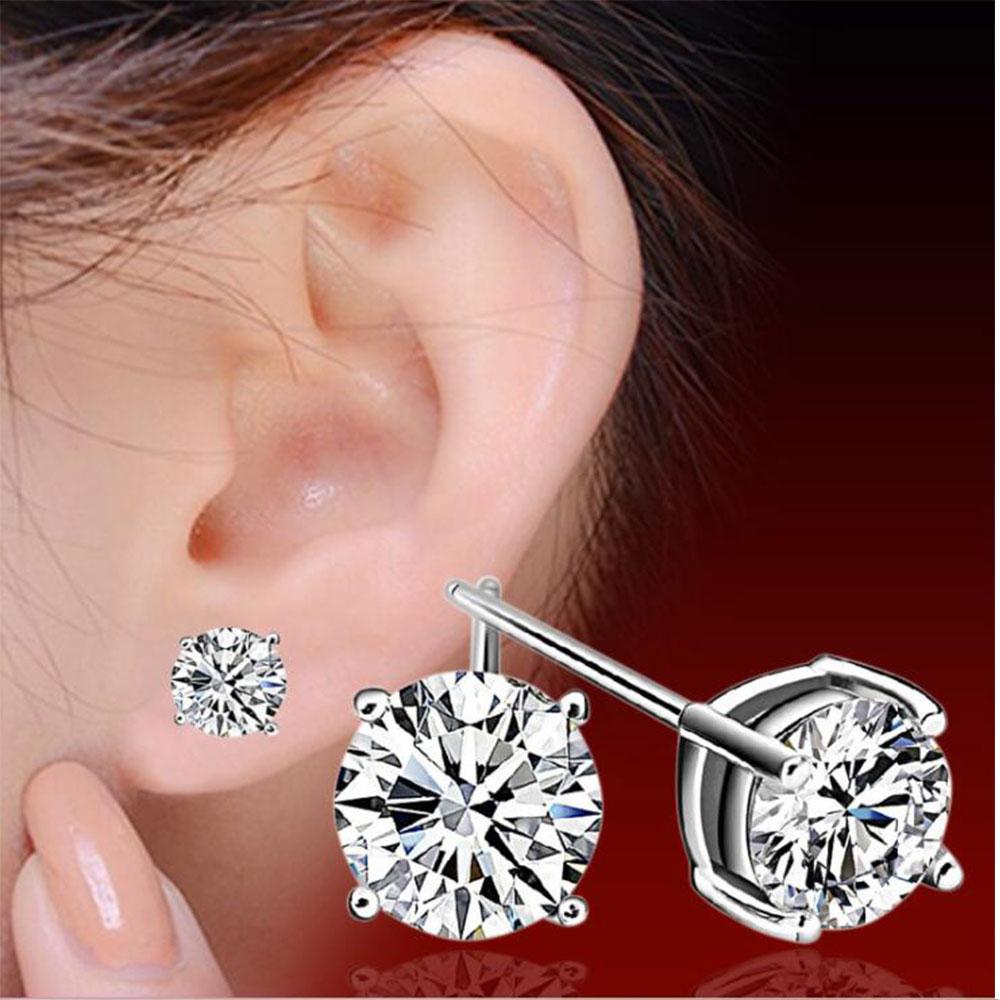 Anenjery 925 Sterling Silver Classic Fashion 4mm 5mm 6mm Four Claws Zircon Stud Earrings For Women Men Gift Oorbellen S-E307