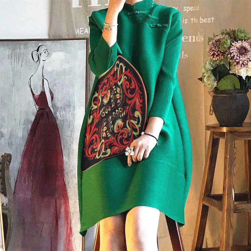 LANMREM 2019 Новое модное китайское плиссированное платье на пуговицах с принтом женская одежда высокого качества YF545