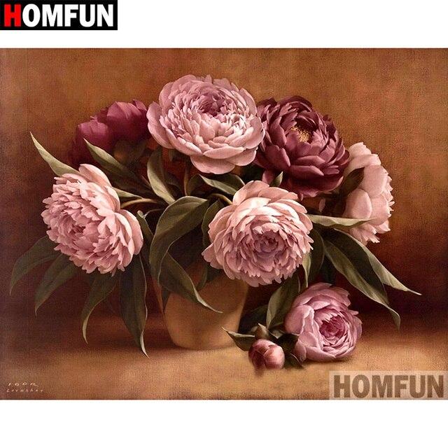 """HOMFUN 5D DIY Pintura Diamante Praça Cheia/Broca Redonda """"Peony flores"""" Bordado Ponto Cruz Casa Decoração presente presente A07859"""