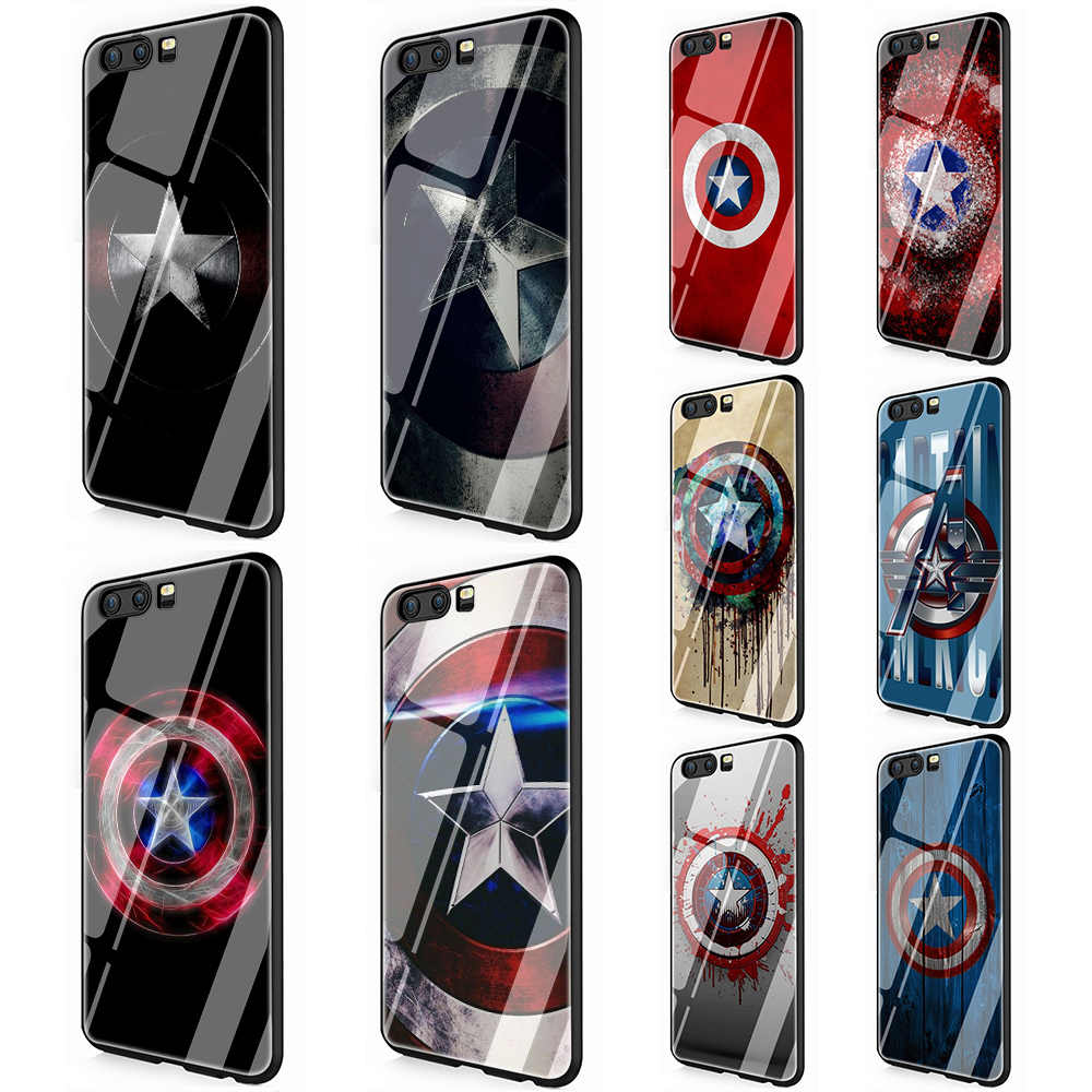 Captain America Tempered Glass TPU Cover for Huawei P10 P20 P30 Mate 20 Honor 9 10 Lite Pro 7A 8X P Smart
