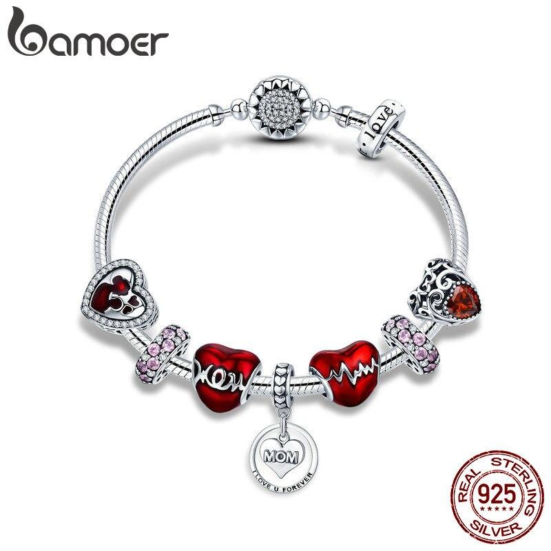 BAMOER 925 Sterling Silver Romantic Heart Love MOM Forever Pendant Mother Gift Bracelets Bangles for Women