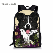 ELVISWORDS Kids Fashion Backpack Flower Dogs Pattern Childrens School Bag Kawaii Animal Toddler Bags Women Backpacks