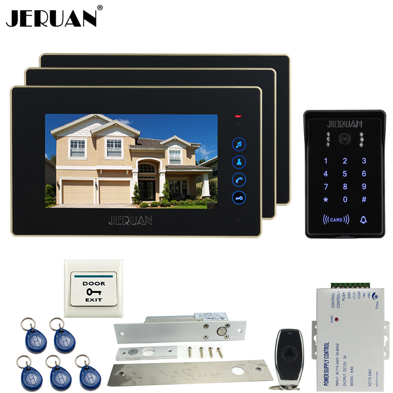 JERUAN NEW 7`` video door phone intercom system kit 3 monitors waterproof touch key password keypad camera Electric mortise lock jeruan wired 7 touch key video doorphone intercom system kit waterproof touch key password keypad camera 180kg magnetic lock