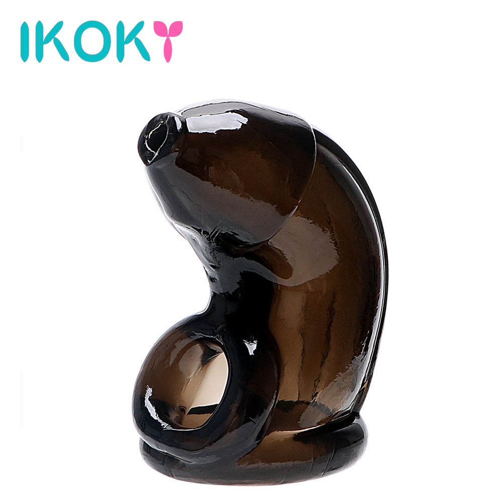 IKOKY Cock Cage Penis Sleeves Penis Ring Reusable Condom Sex Products Penis Extension Male Chastity Device Sex Toys For Men