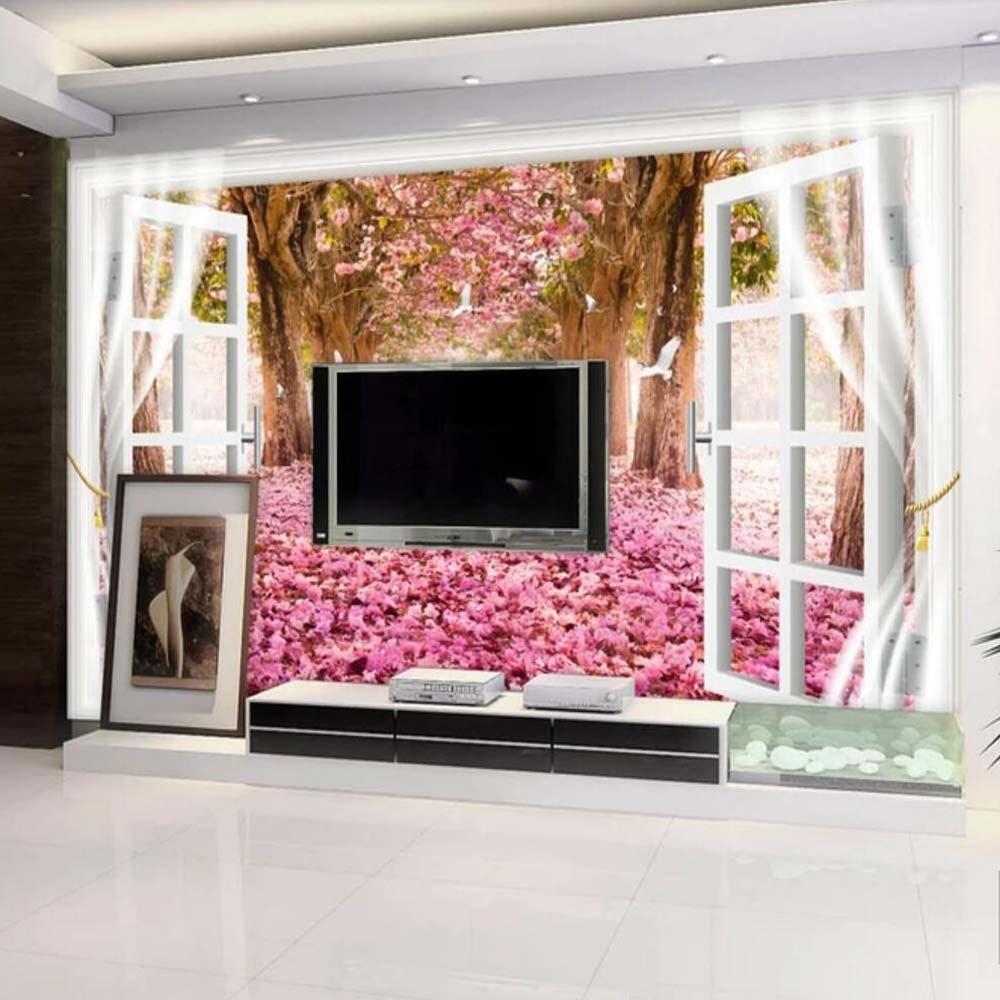 3d Crane Cherry Blossom Flower Mural Printed Wallpaper For