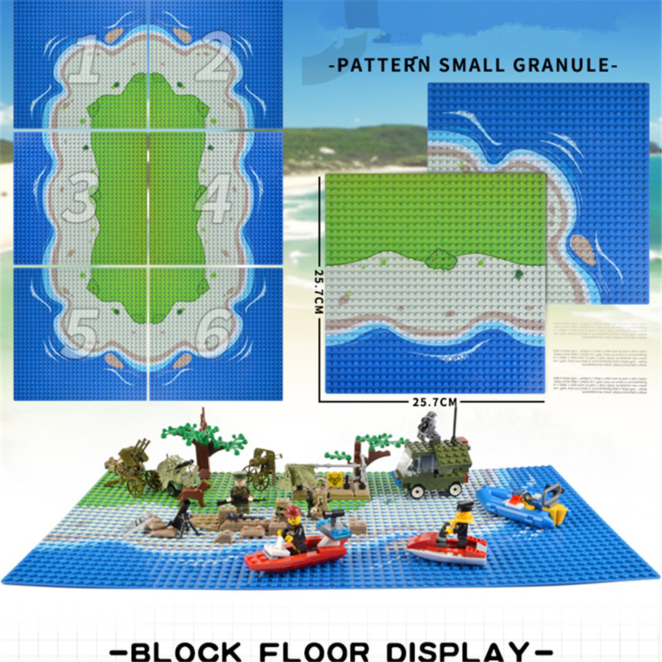 Legoingly Baseplate 32*32 Road Plate with Dots Straight Crossroad Curve City Street Military Sandy Beach Base Plate Blocks Toys legoingly city road base plate straight crossroad curve t junction street baseplate building blocks bricks toys for children