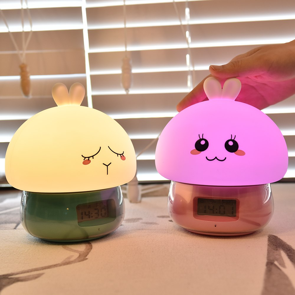 USB Rechargeable Night Light Led Silicone Night Lamp Rabbit Multifunctional Alarm Clock With Remote Control Colorful Table Lamp beiaidi 7 color usb rechargeable rabbit led night light dimmable animal cartoon light with remote baby kids christmas gift lamp