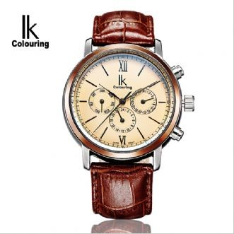 IK Colouring Classic Design Leather Strap Mens Watches Auto Date Day Display Automatic Mechanical Male Clock erkek saat
