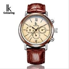 IK Colouring Diseño Clásico Correa de Cuero Para Hombre Relojes Auto Fecha Día Display Reloj Masculino Mecánico Automático saat erkek