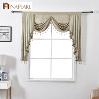 NAPEARL 1 Piece Solid Valance Curtains European Style Elegant Home Decorative Pelmets For Living Room Windows Beads Luxury