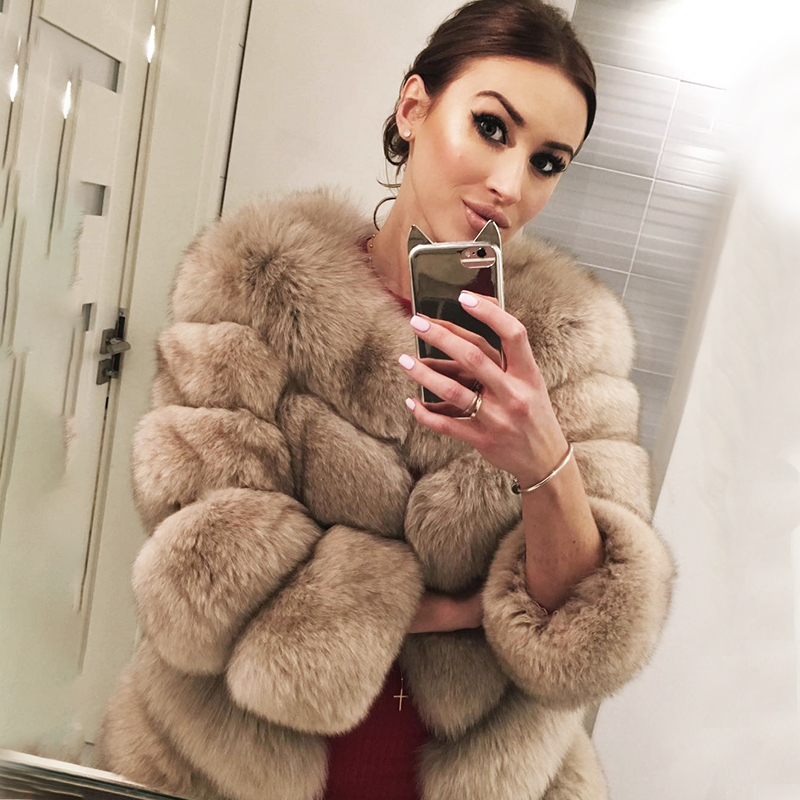 2019 BFFUR Women's Genuine Fox Fur Coats Luxurious Female Real Fur Coat Fashion Solid Color Striped Winter Warm Fur Jacket