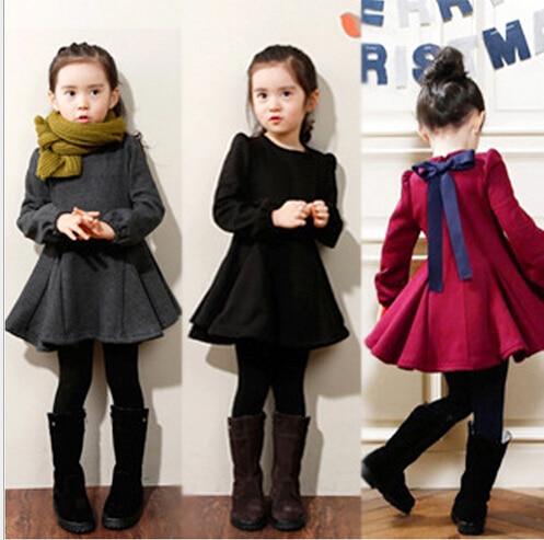 2018 Winter Girls Dress Thicken Girls Warm Cotton A letter Dress Kids Cute Style Comfortable material big Peplum with Dress GA letter print split sleeve dress
