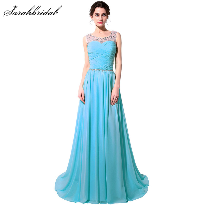 Cheap In Stock Fast shipping Long   Evening     Dresses   O Neck Chiffon Beading Crystal Sequined Sleeveless Inventory Clearance SLD184