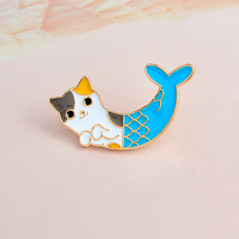 Badges 1 Pcs Cute Cartoon Fish Cat Metal Badge Brooch Button Pins Denim Jacket Pin Jewelry Decoration Badge For Clothes Lapel Pins Home & Garden